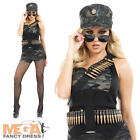 Sexy Hot Pants Army Costume Ladies Military Uniform Costume Outfit + Hat UK 8-30