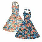 NEW LINDY BOP 'MYRTLE' CLASSY VINTAGE 50's HALTER NECK MIAMI FLORAL SWING DRESS