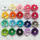 Mini layered artifical DIY flower Satin Ribbon Multilayers With Pearl/beads