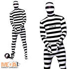 Convict Skin Body Suit Fancy Dress Robber Prisoner Skinz Inmate Costume Outfit