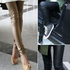 Women Sexy Synthetic Leather Stretch Skinny Footless Legging Tights Pant Trouser