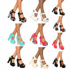 WOMENS PEEP TOE PLATFORM HIGH CHUNKY BLOCK HEELS DEMI WEDGE STRAPPY SHOES SIZE