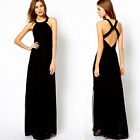 Women's Slim Fit Long Chiffon Backless cocktail  party evening dress 4 Size XS~L