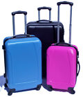 NEW HARD SHELL LIGHTWEIGHT 3 SUITCASE SET 4 WHEEL SPINNER CASES LUGGAGE RRP £149