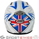 VCAN V158 UNITED KINGDOM MOTORCYCLE UK FLAG ACU GOLD FULL FACE RACE CRASH HELMET