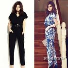 Fashion Women Printed Pocket Casual Wrap Long Jumpsuits Rompers Playsuits Pants