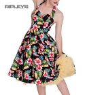 HELL BUNNY Hibiscus Flowers 50s MAUI DRESS Black Tropical Summer All Sizes