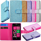 For T-Mobile Nokia Lumia 521 Premium Flip Bling Leather Wallet Case Pouch