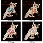 r301m87 Lady's Gold Plated Owl Rhinestones CZ Gemstone Fashion Adjustable Ring