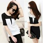 Women Short Sleeve Splicing Color Summer Tops T- shirt clothes blouses ItS7