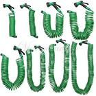 7.5M-30M Green Coil Coiled Garden Water Hose Pipe & Spray Nozzle Head 7 Patterns