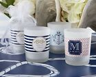 24 Personalized Nautical Theme Frosted Glass Votive Candle Wedding Favors