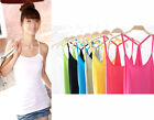 WOO Women Moder Elastic Slim Sleeveless Casual Tank Tops Under Base T-Shirt Vest
