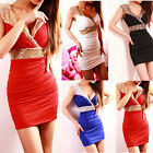 Womens Sexy Sequins Glitter V Neck Bodycon Stretch Cocktail Party Mini Dress