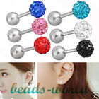 Vogue CZ Crystal Bead 16G Stainless Steel Bar Tragus Cartilage Ear Stud Earrings