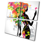 Fashion Floral Lady  MULTI CANVAS WALL ART Picture Print VA