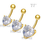 TT Gold-Tone CZ Heart Belly Bar Ring Size 7mm-12mm (BL147J)