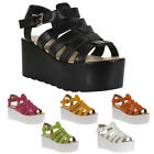 Womens Flatform Ladies Chunky Wedge Block Summer Gladiator Sandals Size 5-10