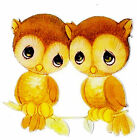 "5-8.5"" BABY OWLS OWL ANIMAL BIRD WALL STICKER GLOSSY BORDER CHARACTER CUT OUT"