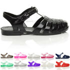 WOMENS LADIES FLAT JELLY RUBBER RETRO 90S BUCKLE SANDALS SHOES FLIP FLOPS SIZE