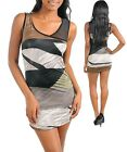 .Womens Dress Club Sheath Tank Metallic geometric print S M L
