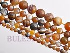 6~14mm Round Loose Gemstone Brown Striped Spacer Beads Natural Agate Stone