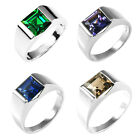 3.7ct Genuine Smoky Quartz Alexandrite Sapphire Ruby Emerald Men Ring 925 Silver