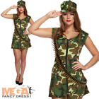 Sexy Army Girl Ladies Fancy Dress Womens Military Uniform Adults Camo Costume
