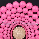 "Round Smooth Pink Candy Jade Gemstone Jewelry Making Beads 15"" 6mm 8mm 10mm"