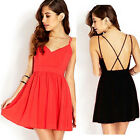 Women Sexy Summer Sleeveless Cocktail Evening Party Chiffon Short Mini Dress