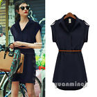 Summer Women Cap Sleeve Collared Chiffon Casual OL Belt Short Shirt Dress M L XL