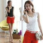 Women Lace Knit Spaghetti Strap Vest Sleeveless Solid Tank Top Shirt Blouse 5Sz