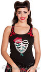 HELL BUNNY Corset Straps ~RiB CaGe~ Tattoo Print Vest Top XS-XL 6-18
