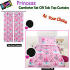 GLOW IN THE DARK Kids Princess Comforter Set OR Curtains - SINGLE