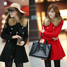 Women Long Winter Coat Outerwear Patchwork Clothes Fur Collar Fashion OverCoat
