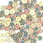 100pcs Painted Pattern Wooden Buttons Fit Sewing and Scrapbook 12.5mm-15.0mm