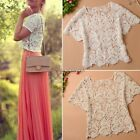 Sexy Lace Crochet Women's Short Sleeve Shirt Embroidery Floral Tops Blouse ItS7