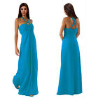 Gorgeous Long Flowing Formal Bridesmaid Dress Evening Party Night Gown Blue