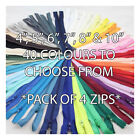 "4"" 5"" 6"" 7"" 8"" 10"" ~PACK OF 4~ CLOSED END No.3 NYLON ZIPS *6 SIZES & 40 SHADES*"