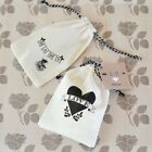 48 PERSONALIZED Vintage Muslin Favor Bags Baby Shower Wed...
