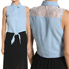 Themogan Lace & Denim Button Down Tank Top Sleeveless Tie Waist Jean Shirts