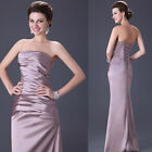 Gorgeous Pleated Bridal Womens Party Prom Ball Gown Evening Long Dress Satin NEW