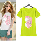 Women Short Sleeve Casual Work OL Fashion Horse Sequin Fit Blouses T-Shirts Tops