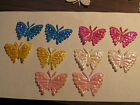 50 FABRIC GLITTER AB EFFECT BUTTERFLY EMBELLISHMENTS-Cardmaking