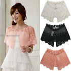 Vintage Women's Floral Sheer Pearl Embellished Ruffle Lace Cape Cover Up SJ9615