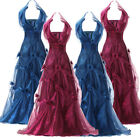 New Retro Long Formal Yarn Evening Dress Bridal Party Cocktail Gown UK Size 6-20