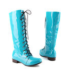 US4-11 knee high boots low heel punk goth party lace Up womens ROMAN SHOES NEW