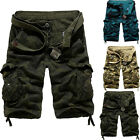 Mens Casual Army military Cargo Combat Camo Cotton Shorts Leisure Pants 3 Colors
