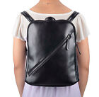 Faux Leather Backpack w/ Large Compartment Front/Back Pouches Teens Kit