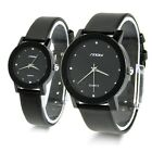 DURABLE LEATHER BAND BLACK GLASS DIAL MENS WOMENS WATERPROOF STEEL QUARTZ WATCH